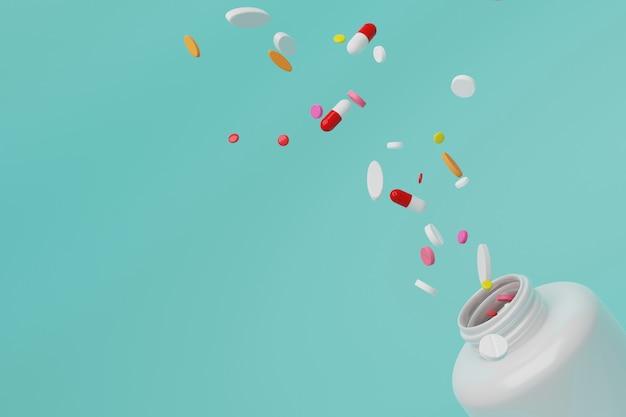 Pillole aperte della medicina della bottiglia e della spruzzata della rappresentazione 3d