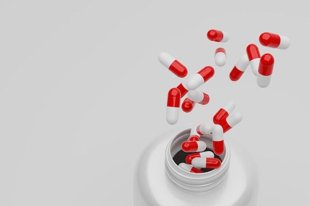 Pillole aperte sulle capsule aperte della bottiglia e della spruzzata di fine della rappresentazione 3d