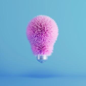 Pink fur light bulb su galleggiante blu. concetto creativo idea minima. render 3d.