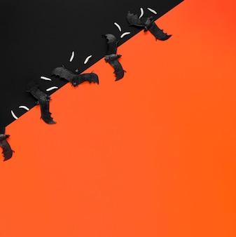Pipistrelli di halloween spaventoso vista dall'alto con spazio di copia