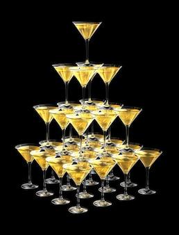 Piramide 3d di bicchieri di champagne isolato su fondo nero