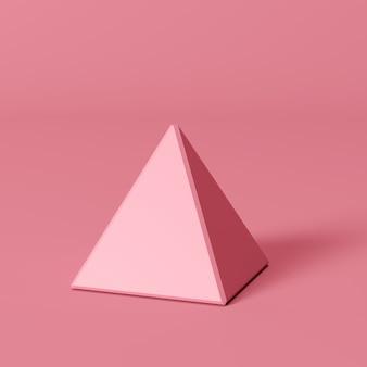 Piramide quadrata rosa su sfondo rosa. idea di concetto minima
