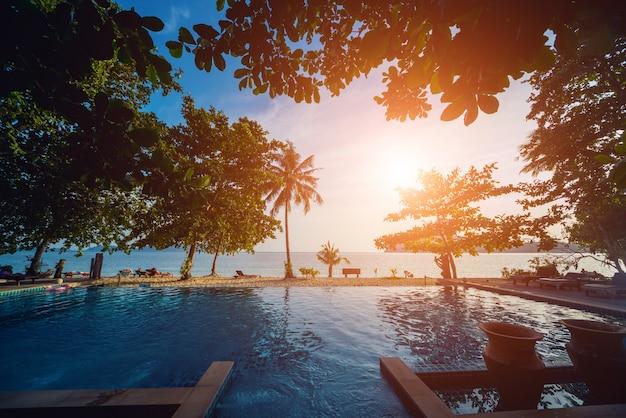 Piscina esotica tropicale. giardino esotico.