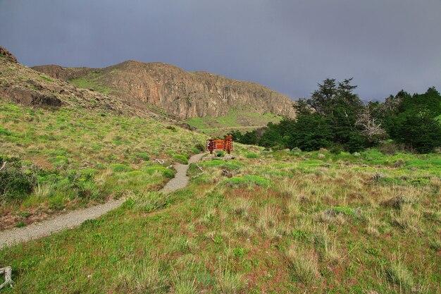 Pista sul parco nazionale los glacier fitz roy, el chalten, patagonia, argentina