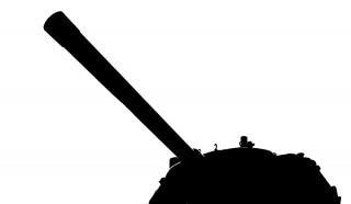 Pistola e la torretta di un carro armato
