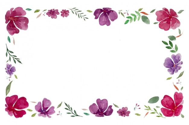 Pittura a mano ad acquerello confine di fiori e foglie.
