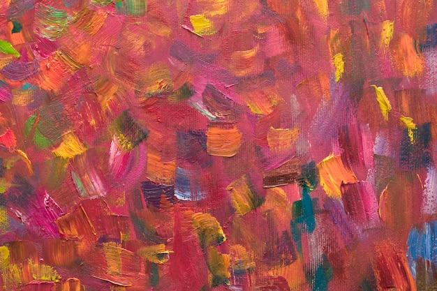 Pittura a olio astratta rossa del fondo su tela