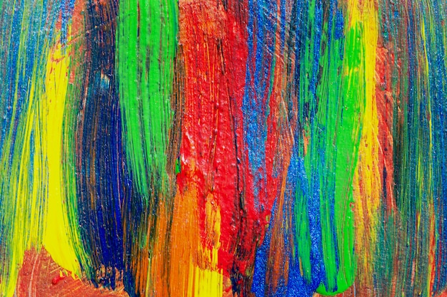 Pittura acrilica disegnata a mano del fondo creativo di arte. colpo del primo piano della pittura acrilica di struttura variopinta di pennellate su tela. arte contemporanea moderna. composizione astratta per elementi di design.