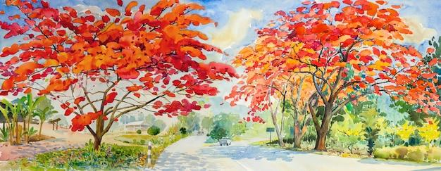 Pittura ad acquarello paesaggio