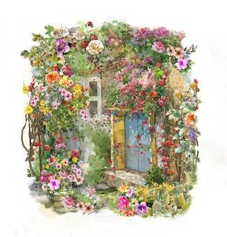 Pittura ad acquerello astratto fiori colorati.
