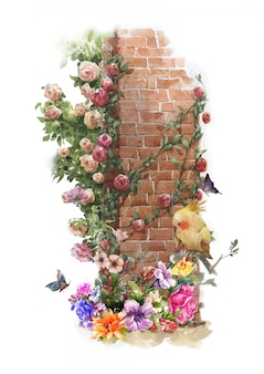Pittura ad acquerello astratto fiori colorati