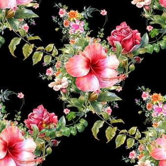 Pittura ad acquerello di foglie e fiori, modello senza soluzione di continuità sul buio