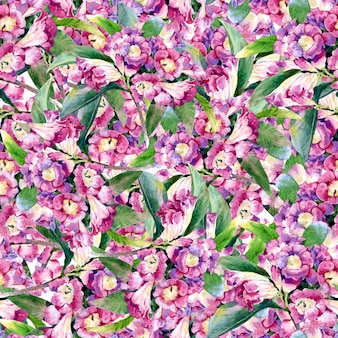 Pittura ad acquerello di foglie e fiori, modello senza soluzione di continuità
