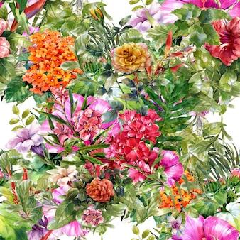 Pittura ad acquerello di foglie e fiori senza cuciture
