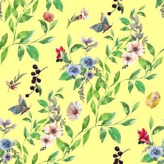 Pittura ad acquerello di foglie e fiori, senza cuciture