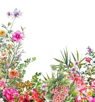 Pittura ad acquerello di foglie e fiori, su bianco