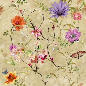 Pittura ad acquerello di foglie e fiori