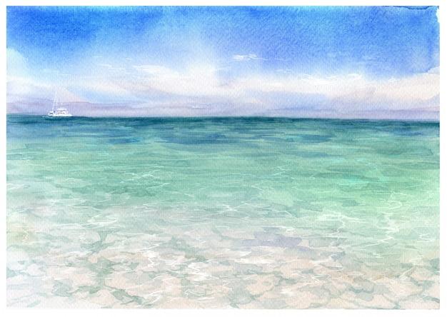 Pittura ad acquerello di paesaggio marino