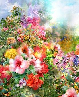 Pittura ad acquerello fiori astratti. fiori multicolori di primavera