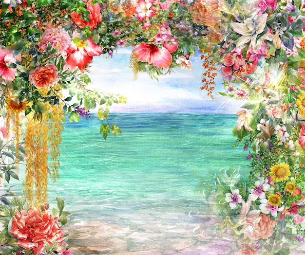 Pittura ad acquerello fiori astratti. primavera multicolore vicino al mare