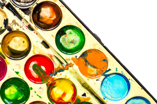 Pittura ad acquerello macchiata, mista, vecchia