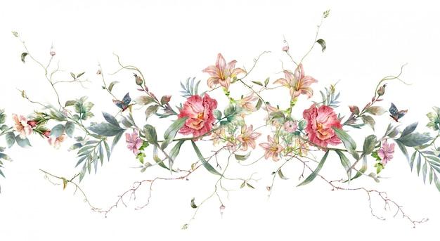 Pittura dell'acquerello della foglia e dei fiori, modello senza cuciture su fondo bianco