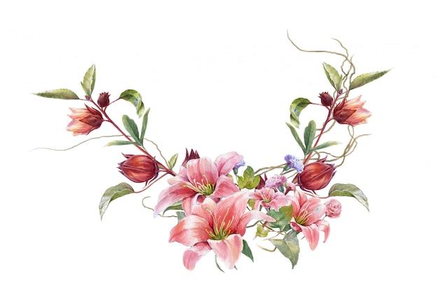 Pittura dell'acquerello delle foglie e del fiore, su bianco