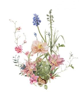 Pittura dell'acquerello delle foglie e del fiore su bianco