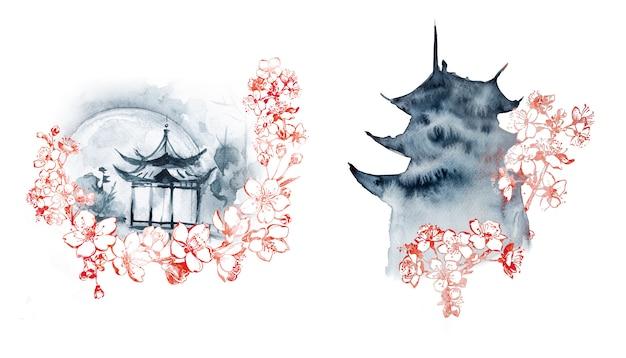 Pittura della pagoda dell'acquerello pittura dipinta a mano a tema orientale.