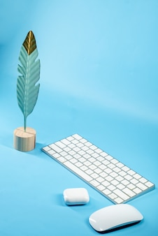 Piuma di uccello, tastiera, mouse e auricolari
