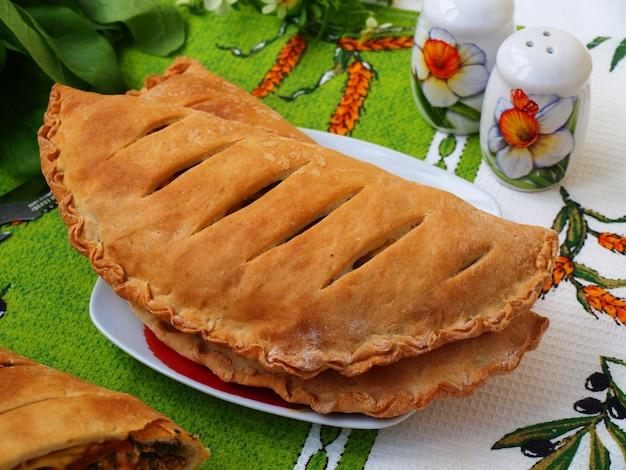 Pizza chiusa calzone con pollo, cipolle verdi, spinaci, prezzemolo e pomodori secchi sul piatto