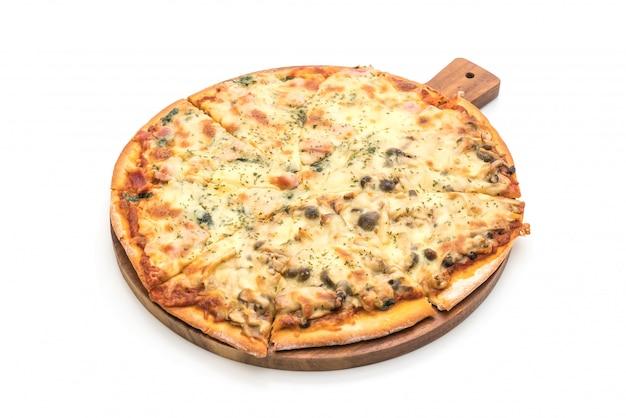 Pizza con spinaci e funghi