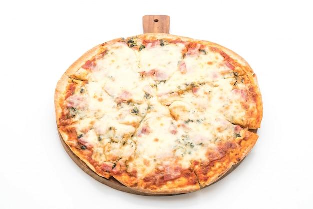 Pizza con spinaci e pancetta