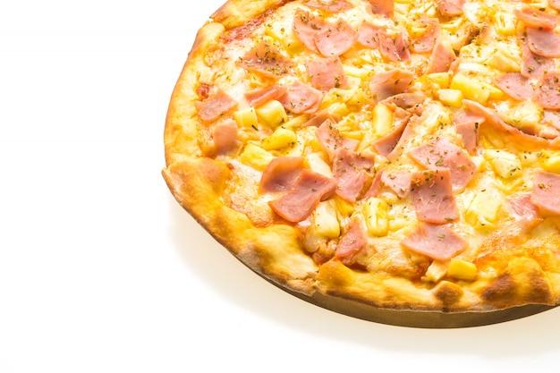 Pizza hawaiana sul vassoio in legno