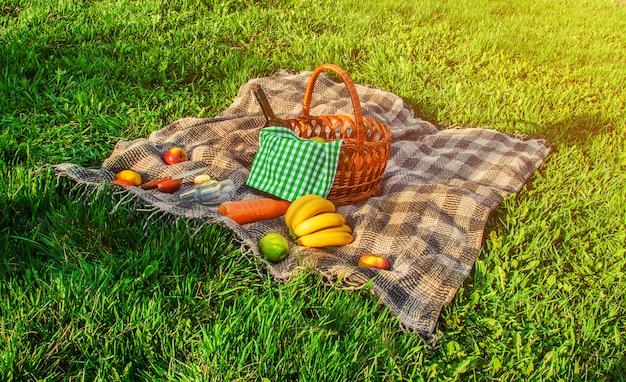 Plaid per un picnic sull'erba. messa a fuoco selettiva