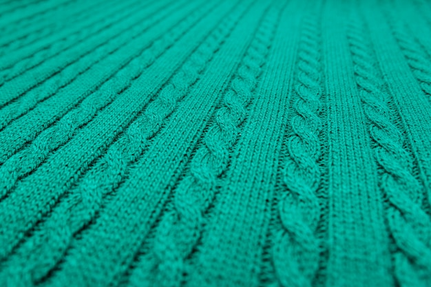 Plaid verde, codino lavorato a maglia.