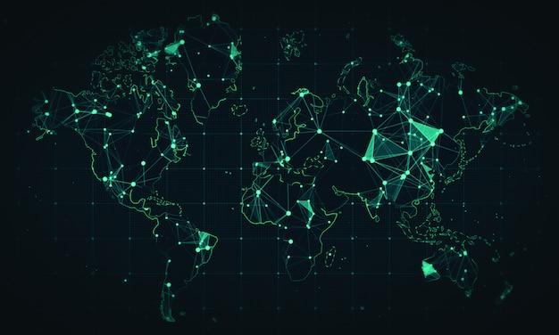 Plesso astratto. priorità bassa della rete della mappa del mondo di notizie