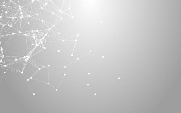 Plesso, spazio poligonale astratto basso poli sfondo bianco con punti e linee di collegamento.