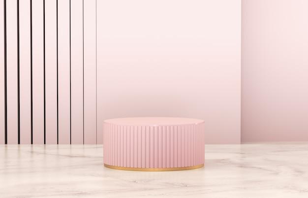 Podio a cilindro rosa di lusso con parete per la visualizzazione del prodotto.