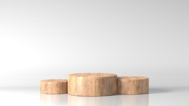 Podio a tre cilindri di legno fine marrone di lusso minimo nel fondo bianco
