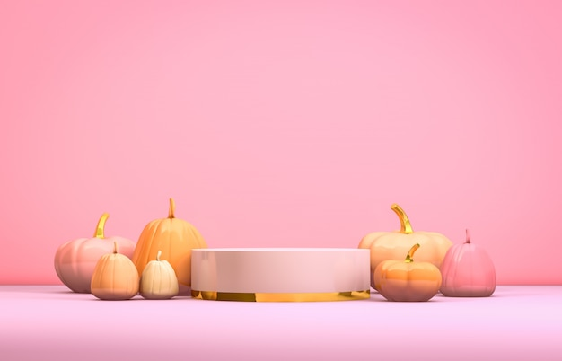 Podio astratto di 3d halloween con il contenitore e le zucche di cilindro di rosa pastello per l'esposizione dei prodotti.