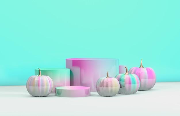 Podio astratto di 3d halloween con il contenitore e le zucche di cilindro pastelli per l'esposizione dei prodotti.