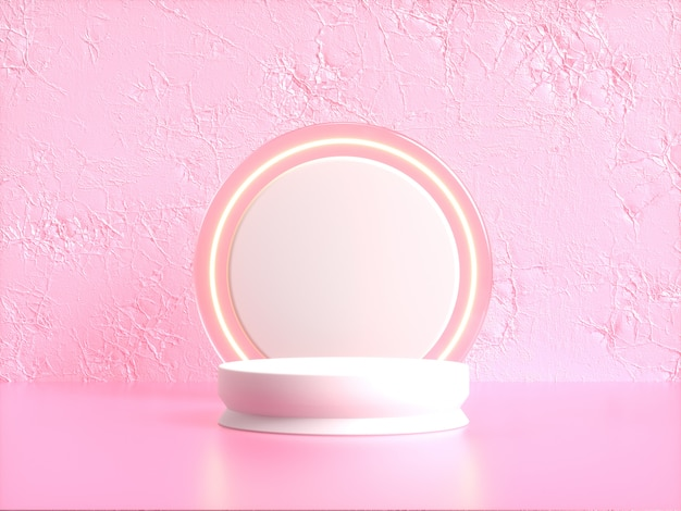 Podio bianco cerchio bianco 3d rendering scena rosa