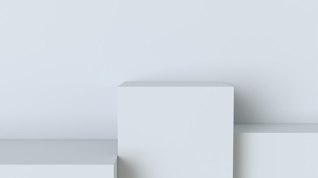 Podio bianco cubo su sfondo muro bianco