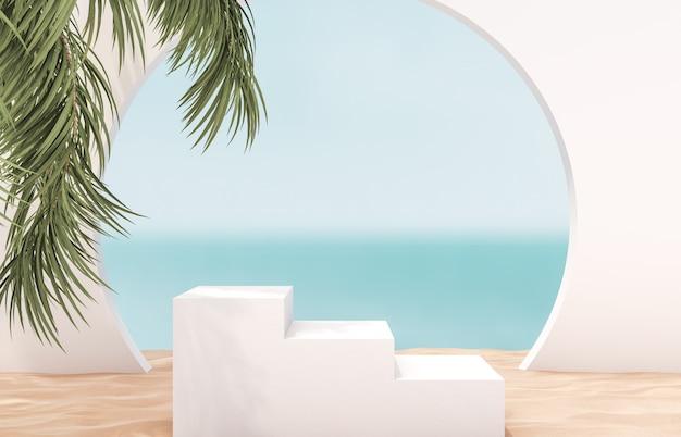 Podio bianco della scala con la parete della spiaggia di estate.