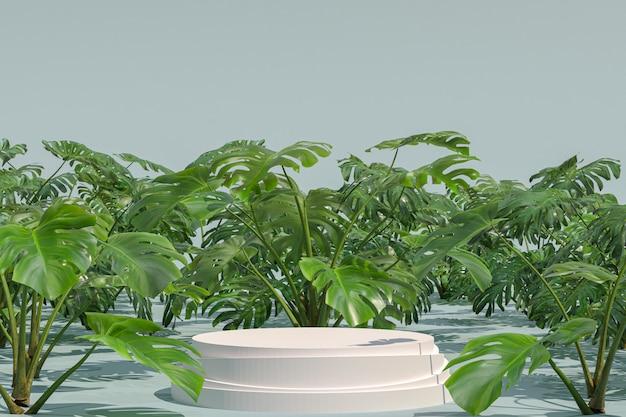 Podio bianco di forma geometrica sul giardino naturale monstera deliciosa per esposizione di prodotti