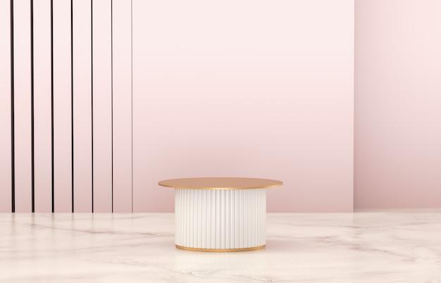 Podio bianco di lusso a parete cilindrica per esposizione prodotti