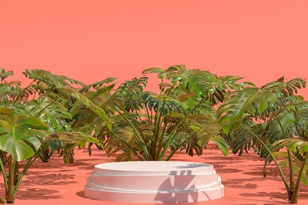Podio bianco forma geometrica sul giardino naturale monstera deliciosa per la visualizzazione di prodotti, sfocatura sfondo astratto verde, copia spazio vuoto promozione banner social media, rendering 3d