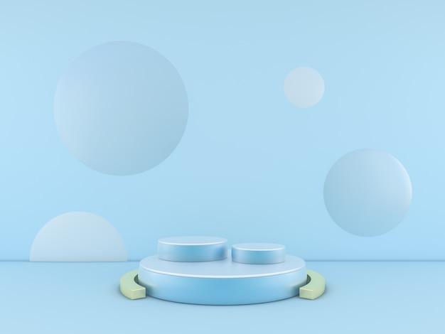 Podio blu minimo sul fondo blu di colore per il prodotto. rendering 3d