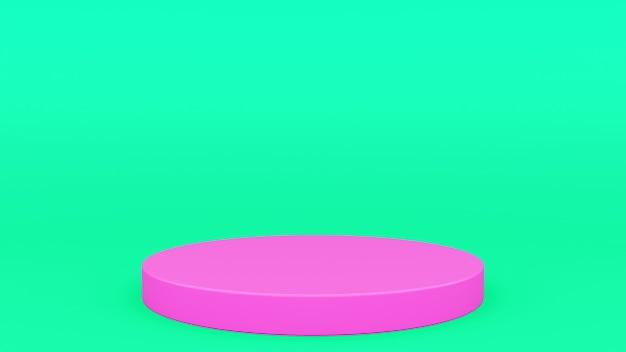 Podio cilindrico verde e rosa scena 3d minimo rendering moderno minimalista, vetrina vuota